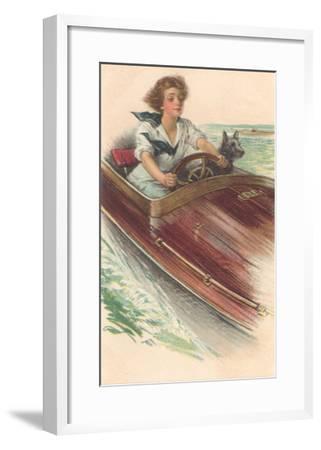 Girl in Motorboat with Terrier--Framed Art Print