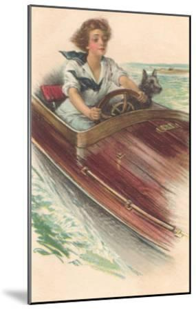 Girl in Motorboat with Terrier--Mounted Art Print