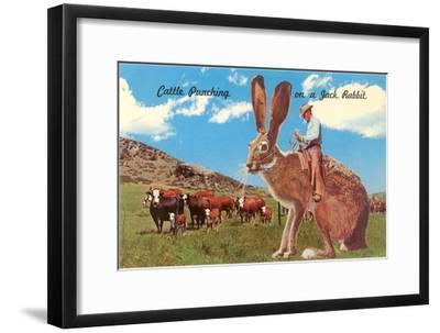 Cattle Punching on a Giant Jack Rabbit--Framed Art Print