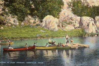 Canoes at Camp Steward, Kerrville, Texas--Stretched Canvas Print