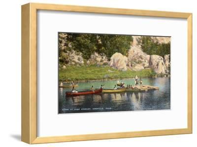 Canoes at Camp Steward, Kerrville, Texas--Framed Art Print