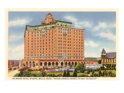 Baker Hotel, Mineral Wells, Texas--Framed Art Print