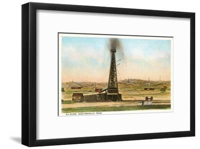 Oil Gusher, Amarillo, Texas--Framed Art Print