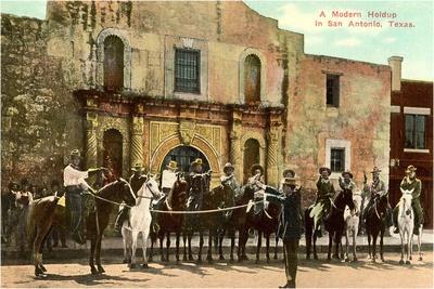 Hold-Up Re-enactment, Alamo, San Antonio, Texas--Stretched Canvas Print