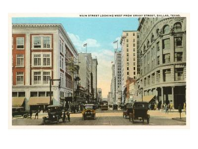 Main Street, Dallas, Texas--Framed Art Print