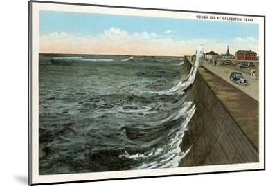 Waves on Seawall, Galveston, Texas--Mounted Art Print