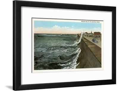 Waves on Seawall, Galveston, Texas--Framed Art Print