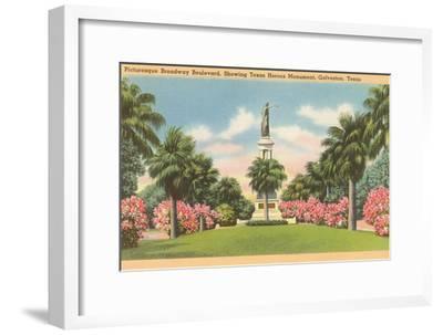 Texas Heroes Monument, Galveston, Texas--Framed Art Print