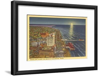 Moon over Galveston, Texas--Framed Art Print