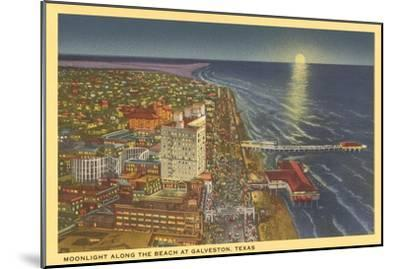 Moon over Galveston, Texas--Mounted Art Print