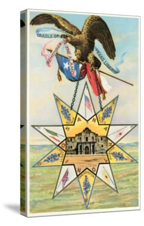 Eagle, Alamo in Star, Texas Liberty--Stretched Canvas Print