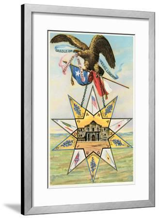 Eagle, Alamo in Star, Texas Liberty--Framed Art Print