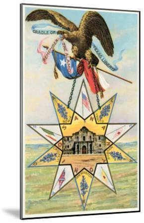 Eagle, Alamo in Star, Texas Liberty--Mounted Art Print