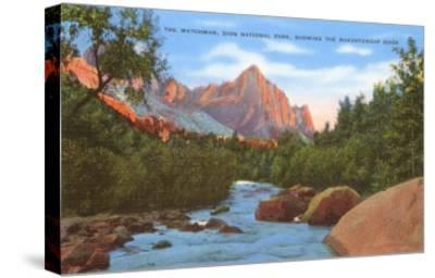 Watchman, Zion Park, Makuntuweap River, Utah--Stretched Canvas Print