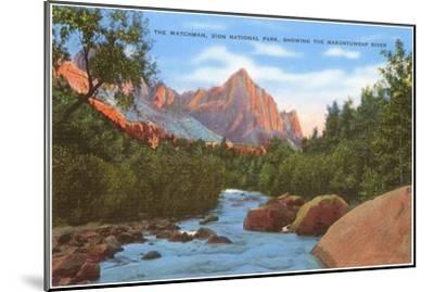 Watchman, Zion Park, Makuntuweap River, Utah--Mounted Art Print