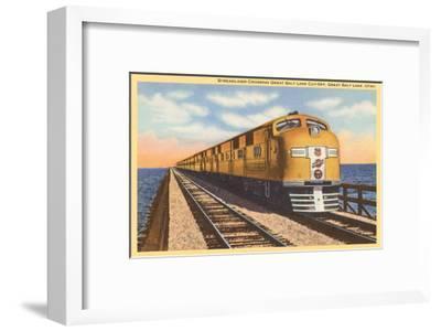 Streamlined Train Crossing Great Salt Lake, Utah--Framed Art Print