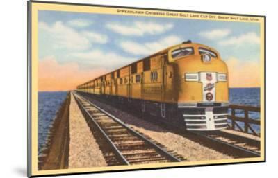Streamlined Train Crossing Great Salt Lake, Utah--Mounted Art Print