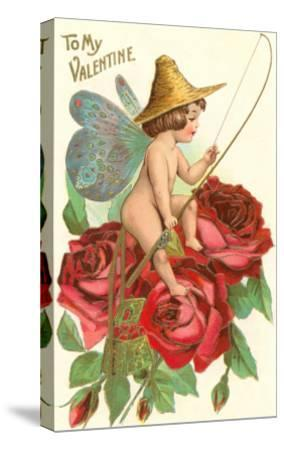 To My Valentine, Fishing Cupid in Roses--Stretched Canvas Print