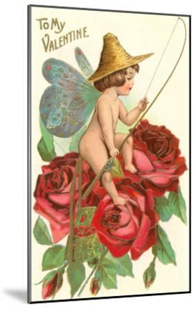 To My Valentine, Fishing Cupid in Roses--Mounted Art Print