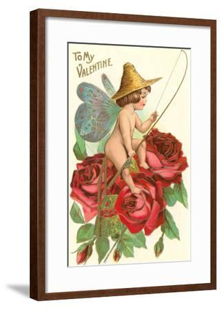 To My Valentine, Fishing Cupid in Roses--Framed Art Print