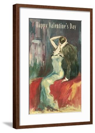 Couple Kissing on Bed--Framed Art Print