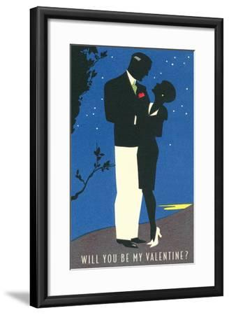Couple Silhouetted in Starlight--Framed Art Print