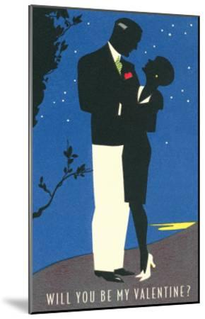 Couple Silhouetted in Starlight--Mounted Art Print
