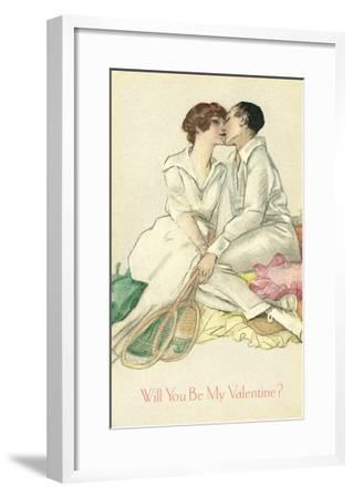 Tennis Couple Kissing, Valentine's Day--Framed Art Print