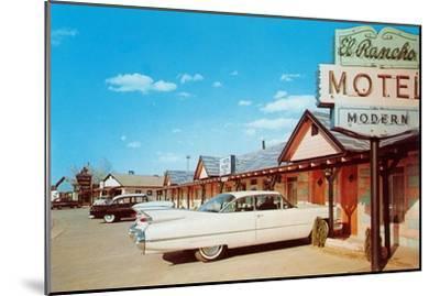 El Rancho Vintage Motel, Cadillac with Fins--Mounted Art Print