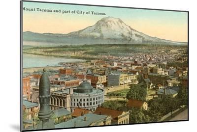 Mt. Tacoma and Downtown Tacoma, Washington--Mounted Art Print