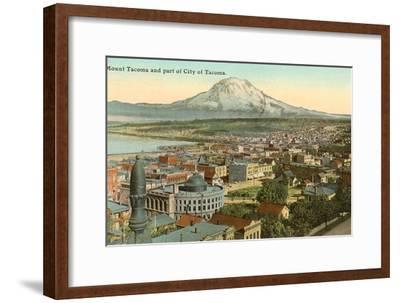Mt. Tacoma and Downtown Tacoma, Washington--Framed Art Print