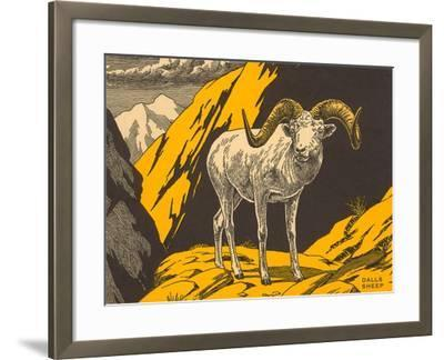 Woodcut of Dalls Sheep--Framed Art Print
