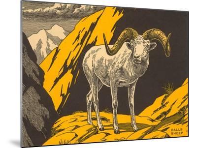 Woodcut of Dalls Sheep--Mounted Art Print