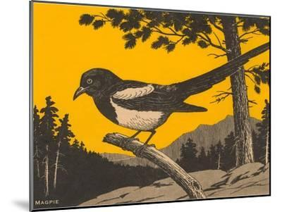 Woodcut of Magpie--Mounted Art Print