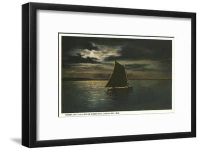 Moon over Sailboat on Green Bay, Wisconsin--Framed Art Print