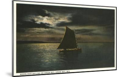 Moon over Sailboat on Green Bay, Wisconsin--Mounted Art Print