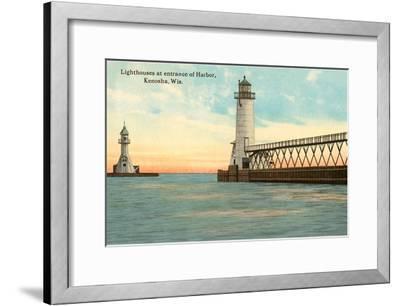 Lighthouses, Kenosha, Wisconsin--Framed Art Print