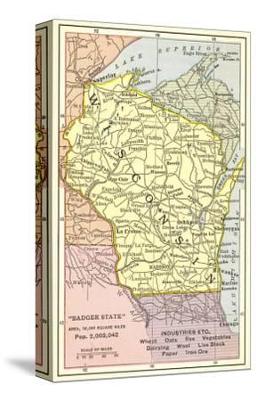 Map of Wisconsin--Stretched Canvas Print