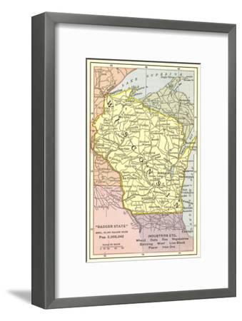 Map of Wisconsin--Framed Art Print