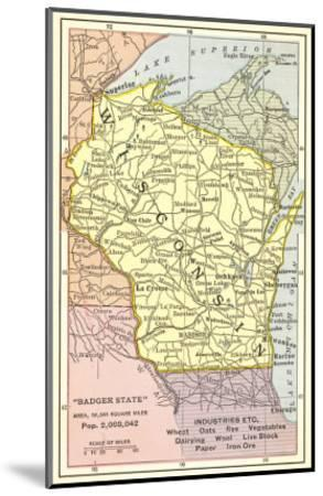 Map of Wisconsin--Mounted Art Print