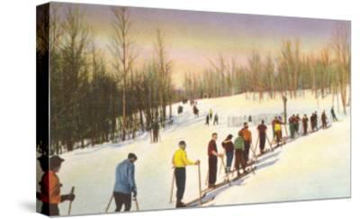 Line of Cross Country Skiers--Stretched Canvas Print