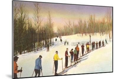 Line of Cross Country Skiers--Mounted Art Print