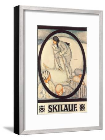 German Skiing Poster--Framed Art Print