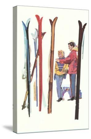 Couple with Sets of Skis--Stretched Canvas Print