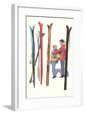 Couple with Sets of Skis--Framed Art Print