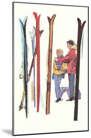 Couple with Sets of Skis--Mounted Art Print