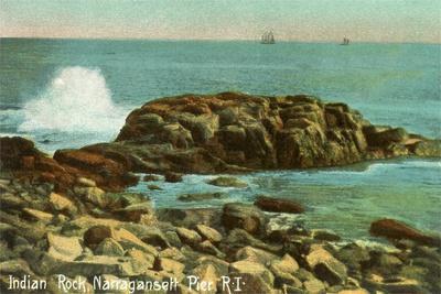 Indian Rock, Narragansett Pier, Rhode Island--Stretched Canvas Print