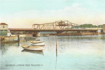 Red Bridge over Seekonk River, Providence, Rhode Island--Stretched Canvas Print