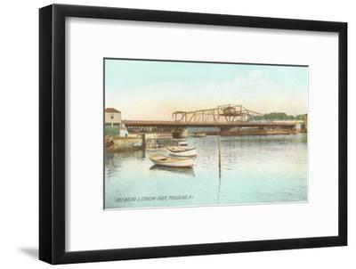 Red Bridge over Seekonk River, Providence, Rhode Island--Framed Art Print