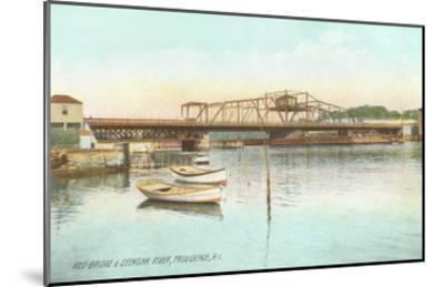 Red Bridge over Seekonk River, Providence, Rhode Island--Mounted Art Print